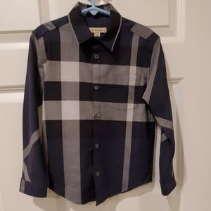 Burberry boys cotton plaid dress shirt navy 6Y